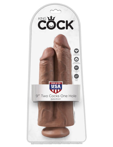 King Cock 9 in. Two Cocks One Hole (Tan, Flesh or Black)