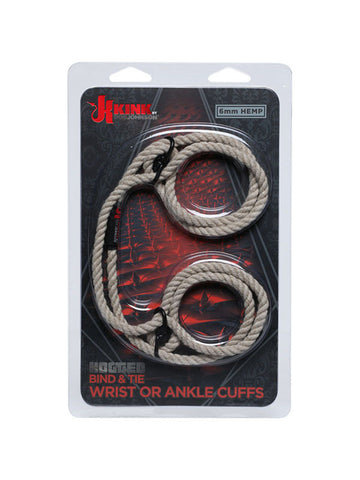 KINK- HOGTIED - BIND AND TIE 6MM HEMP WRIST OR ANKLE CUFFS (Natural,Black or Red)
