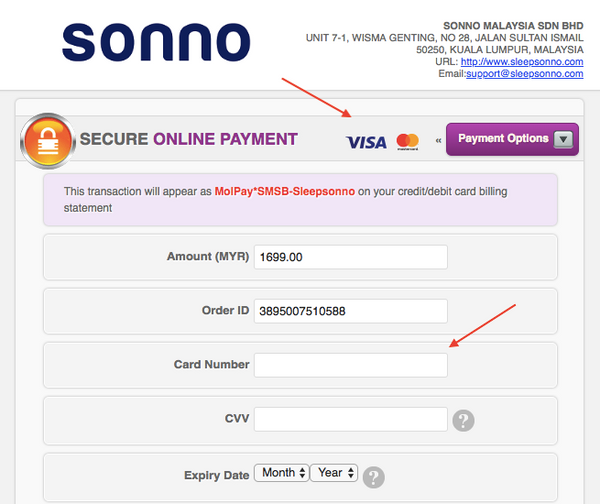 Sonno instalment payment option