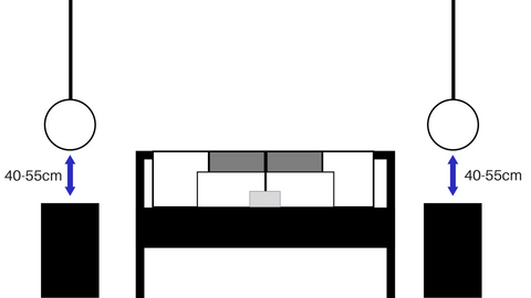 a diagram of 2 pendants hanging symmetrical beside a bed