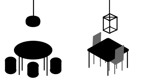 A diagram showing a pendant light mimicking the table design below