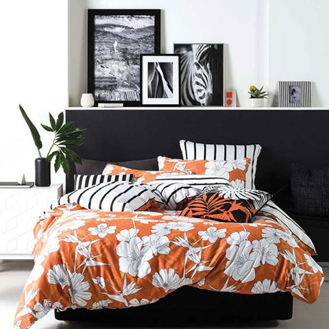 linen house dawn orange quilt cover set