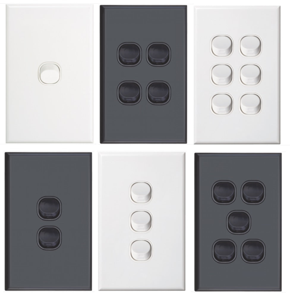 Vertical Light Switch 1 - 6 Gang White Or Black Dexton - $5.99 from ...