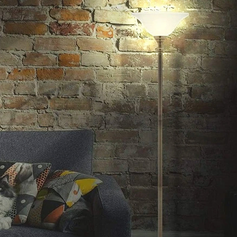 Traditional Uplighter Floor Lamp 1Lt in Brass Or Chrome With Alabaster Glass