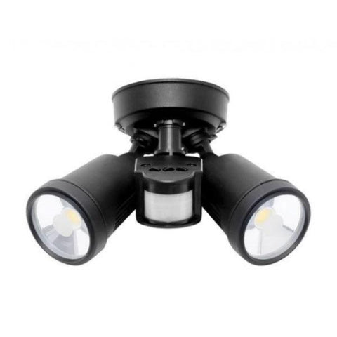 Otto 2x12W Ceiling Mount Floodlight Black w/ Sensor Mercator Lighting - MXD6712BLK/SEN2