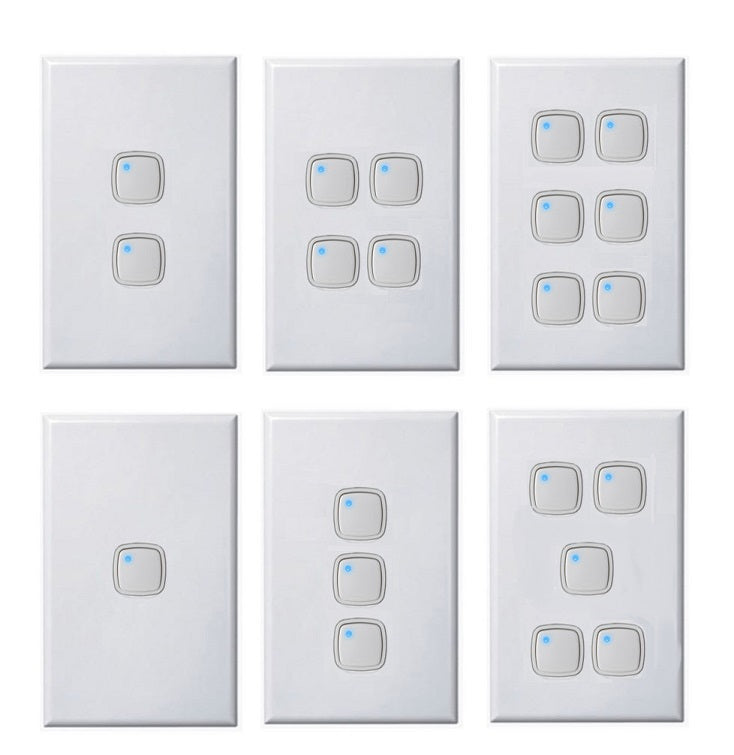 Slim Vertical Push Button Light Switch + Dimmer In One 1 - 6 Gang ...