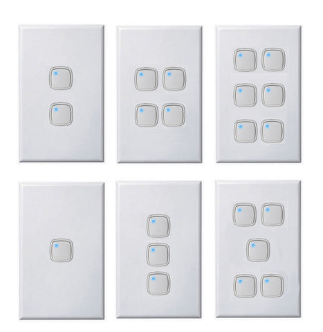 Vertical Push Button Light Switch + Dimmer In One 1 - 6 Gang White Dexton
