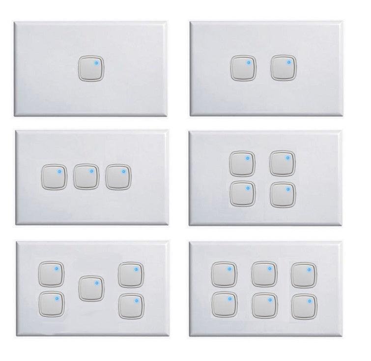 Slim Horizontal Push Button Light Switch + Dimmer In One 1 - 6 Gang ...