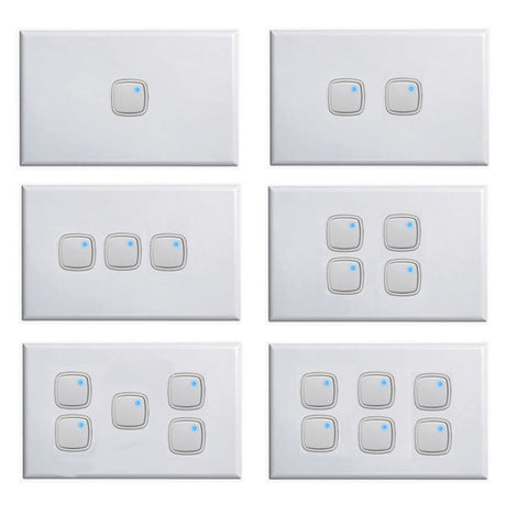Horizontal Push Button Light Switch + Dimmer In One 1 - 6 Gang White Dexton