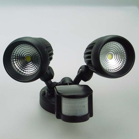 Enterprise LED Twin Spot Light w/ Sensor 26W Matt Black Lumos Lighting - SPL2S TWIN-HEAD