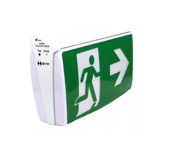 VIPER LED Emergency Light Exit Sign Wall or Ceiling Mounted Lumos ...