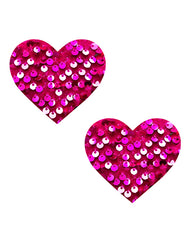 NevaNude Pasties - Pink Sequin Hearts - Eros Fine Goods