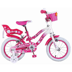 Super Max Pink Butterfly Flower 14 Inch Girls Bike
