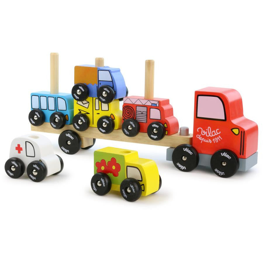 Vilac Truck & Trailer with Cars Stacking Game | Grace Baby