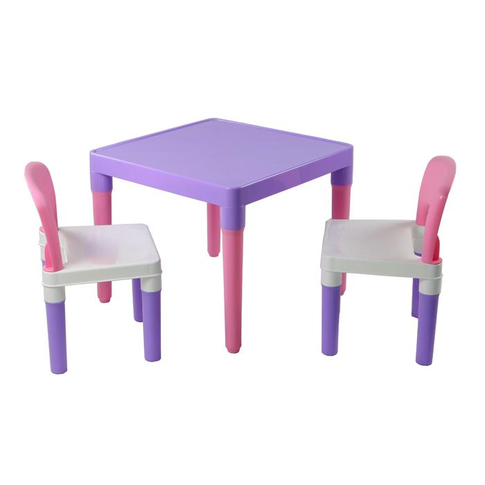 Kids Pink Purple Square Plastic Table Chair Set - Grace Baby