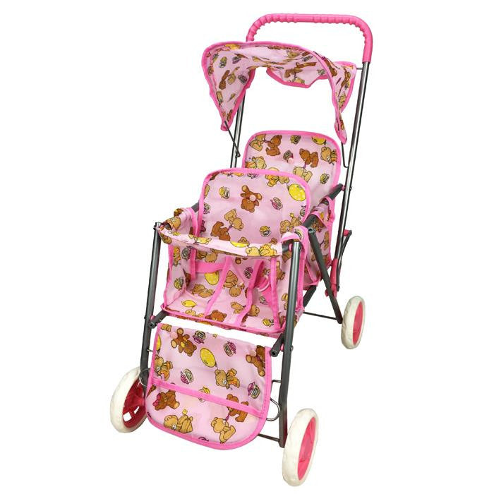 Girls Tandem Doll Stroller - Pink - Grace Baby