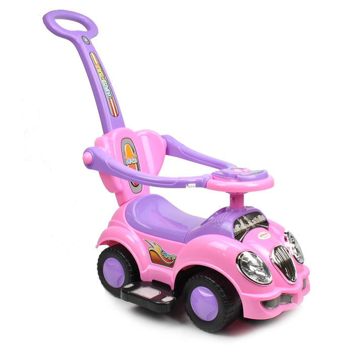 Kids Toddler Ride-On Toy Car with Push Bar - Pink - Grace Baby
