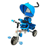 Reverse Seat Kids Baby Toddler Tricycle with Parent Handle - Blue - Grace Baby