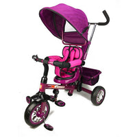 Reverse Seat Kids Baby Toddler Tricycle with Parent Handle - Purple - Grace Baby