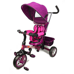 Reverse Seat Kids Baby Toddler Tricycle with Parent Handle - Purple