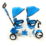 Kids Tandem Tricycle Double Seats Ride-On Trike With Parent Handle - Blue - Grace Baby