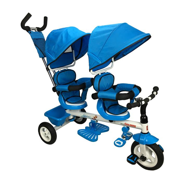 Kids Tandem Tricycle Double Seats Ride-On Trike With Parent Handle - Blue