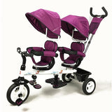 Kids Tandem Tricycle Double Seats Ride-On Trike With Parent Handle - Purple - Grace Baby