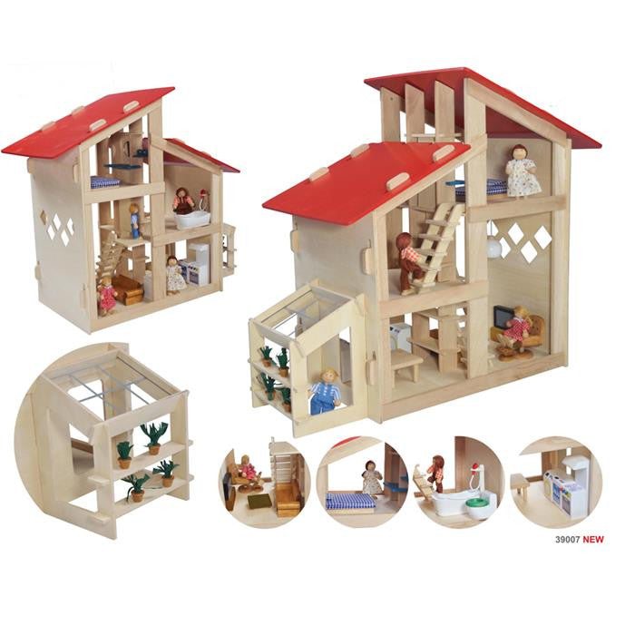 Blue Ribbon Wooden Toy - Double Space Doll House - Grace Baby