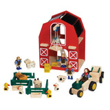 Blue Ribbon Wooden Toy Barn House With tractor