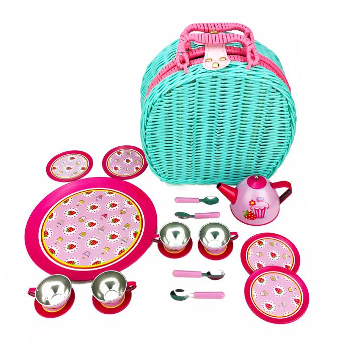 Cup Cake Tin Tea Set in Wicker Basket 19 Pieces - Grace Baby