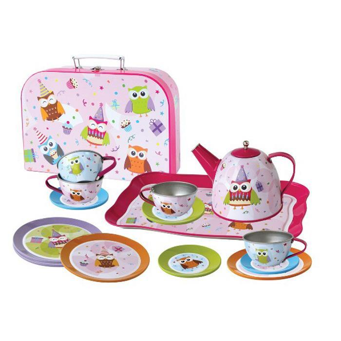 Children's Pretend Play Owl Tin Tea Coffee Mug Toy Set with Carry Case - Grace Baby