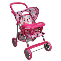 Girls Doll Pram with Tray - Pink
