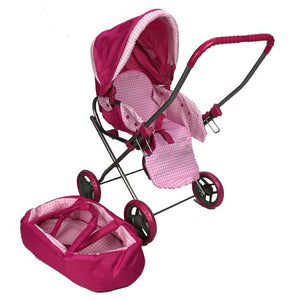 Girls Retro Style Doll Pram - Pink Stripe