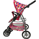 Deluxe Doll Pram with Carry Cot - Polka Dots - Grace Baby