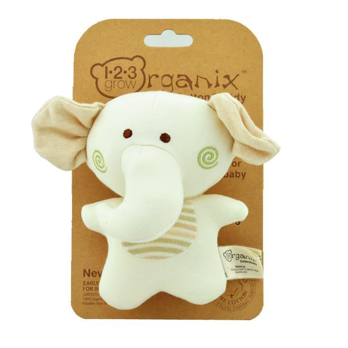 123 Grow Organix Cotton Buddy Squeaky Rattle - Elephant