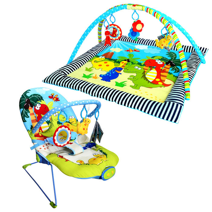 Dinosaur Century Discovery Activity Playgym & Musical Vibrating Bouncer Package