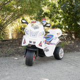 Kids Electric Ride On Police Motorcycle - White - Grace Baby