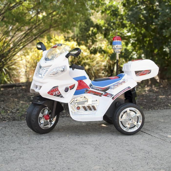 Kids Electric Ride On Police Motorcycle - White