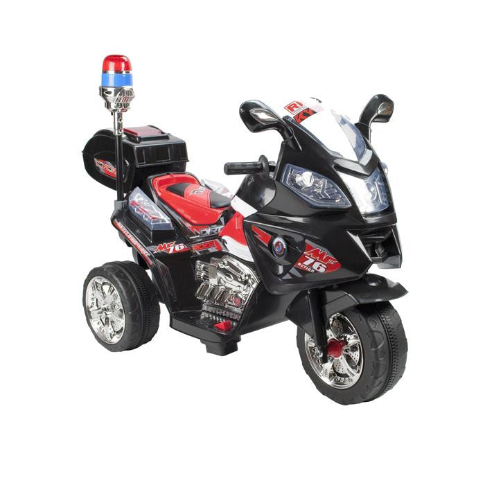 Kids Electric Ride On Police Motorcycle - Black - Grace Baby