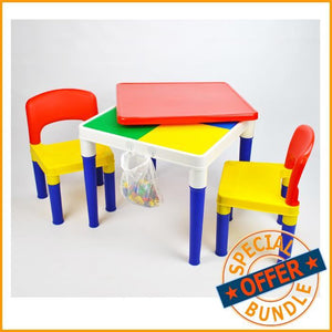 Package Deal - Square Building Block Activity Table & 4 Chairs