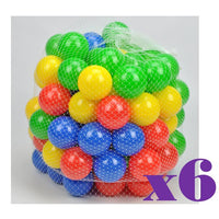 6 Packs - 100 Colour Plastic Soft Play Balls - Package Deal - Grace Baby