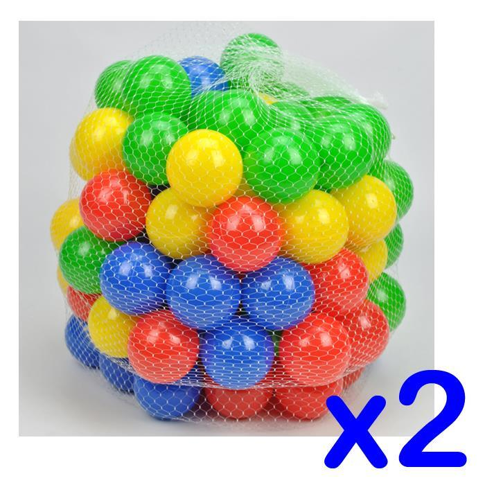2 Packs - 100 Colour Plastic Soft Play Balls - Package Deal - Grace Baby