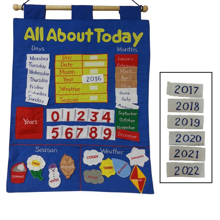 Merrigold Fabric Educational Date Chart - All About Today - Grace Baby