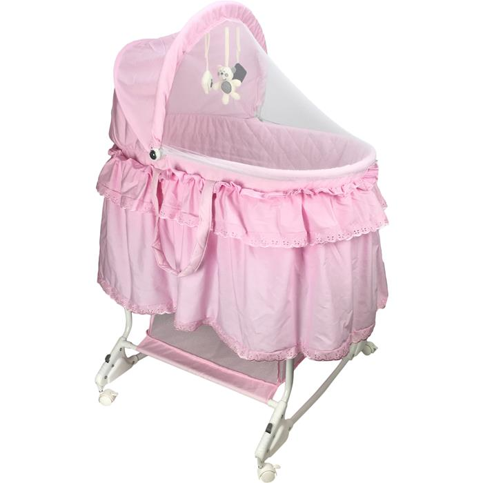 Aussie Baby Deluxe Rocking Bassinet - Total Pink - Grace Baby