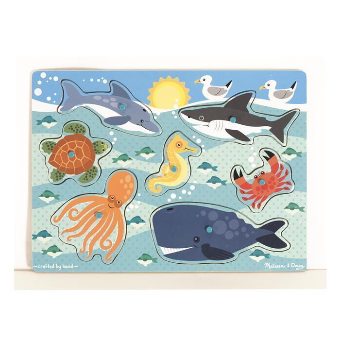 Melissa & Doug - Sea Creatures Peg Puzzle - Grace Baby
