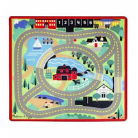 Melissa & Doug Round the Town Road Rug With 4 Wooden Cars