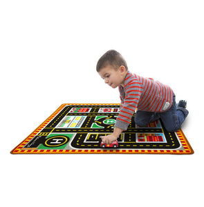 Melissa & Doug Round The City Rescue Rug With 4 Wooden Vehicles