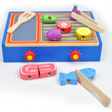 Kids Wooden BBQ Grill Skewers Pretend Play Toy Gift Box Set - Grace Baby