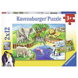 Ravensburger - Animals In The Zoo Puzzle 2x12pc - Grace Baby