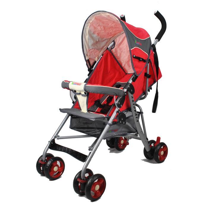Aussie Baby Vivacity Easy Layback Stroller - Grey / Red
